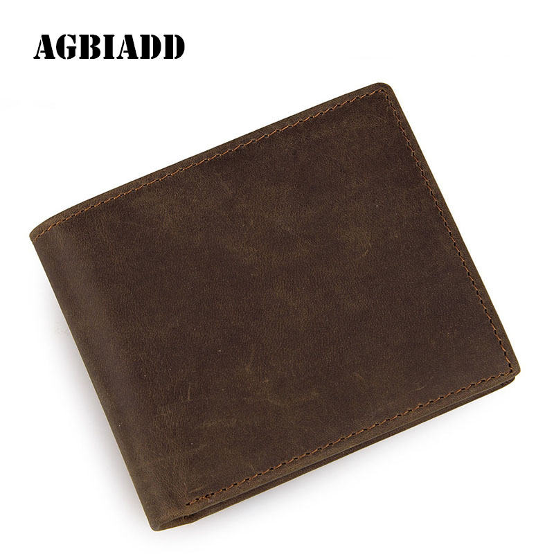Genuine Cowhide Leather Card Holder Mens Wallet Business Solid Crazy Horse Lether Mens Purses Walet 313